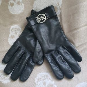MICHAEL KORS Black Leather Gloves Size Small